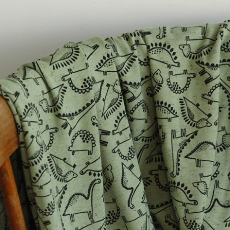 jersey coton chiné vert imprimé  dinosaure