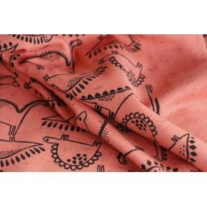 tissu jersey coton - dinosaure brique