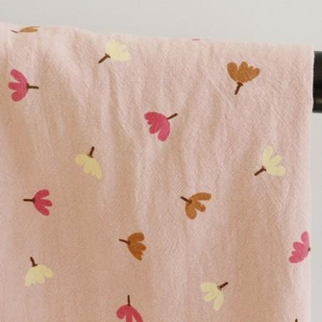 coton lavé fleurs - rose