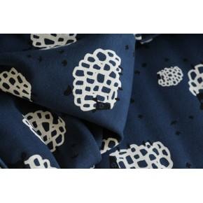 jersey coton bio - bleu imprimé moutons