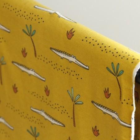 tissu jersey coton bio croco - jaune