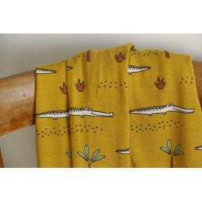 tissu jersey coton bio gots croco - jaune