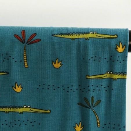 tissu jersey coton bio - crocodile canard