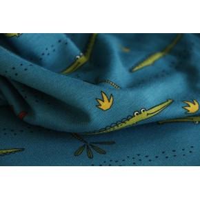 jersey coton bio crocodile bleu petrol