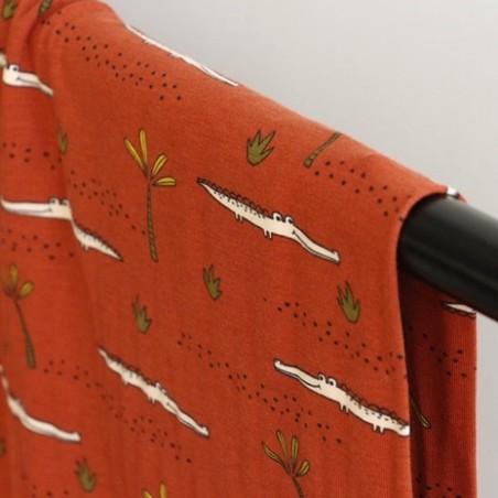 tissu jersey coton bio crocodile - rust