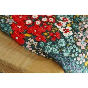 tissu viscose fleurs rayures argentées
