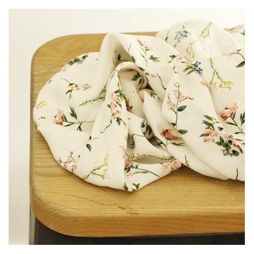 viscose imprimé fleurs fond blanc