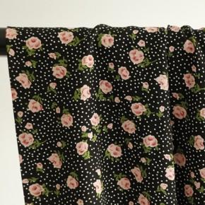 tissu viscose rose imprimé fleurs et pois