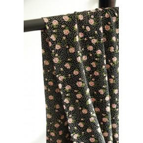 tissu viscose fleurs roses et pois - rose