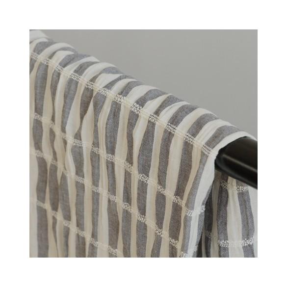 tissu coton rayures - bleu gris