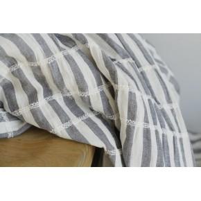 coton rayé et smocké blanc et gris bleu
