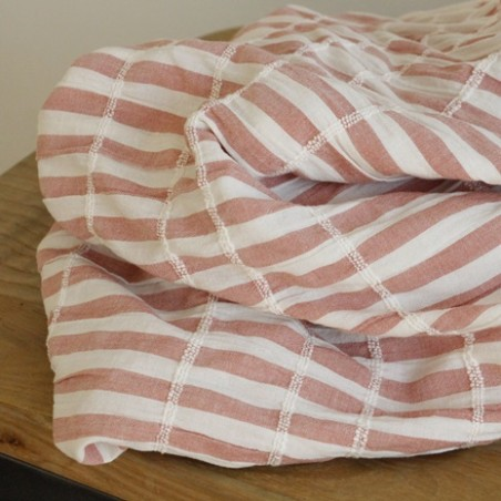 tissu coton rayures blanc et vieux rose
