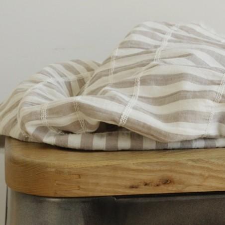 tissu coton rayures beige et blanc