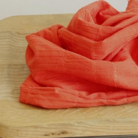 tissu coton mandarine smocké