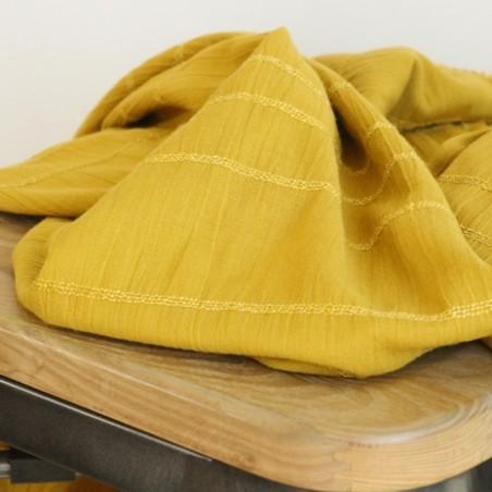 tissu coton moutarde smocké