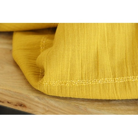 coton uni élastiqué moutarde