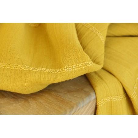 coton smocké moutarde