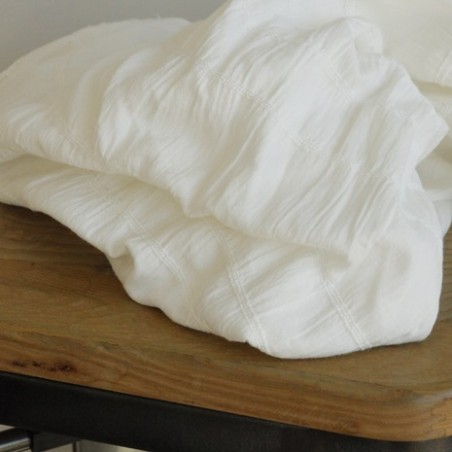 tissu coton smocké blanc