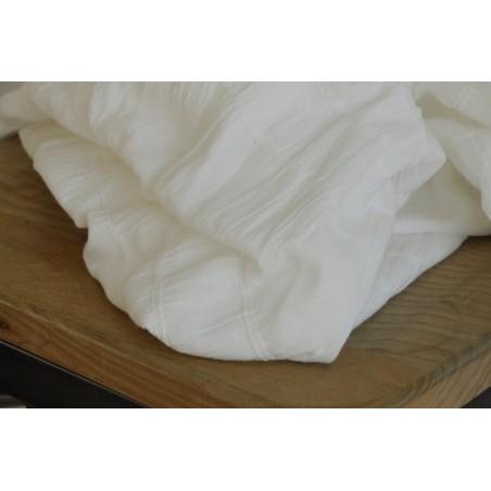 coton uni blanc smocké