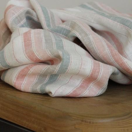 tissu coton à rayures multicolores et lurex
