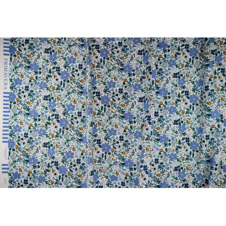 tissu coton wild rose blue metallic - rifle paper co
