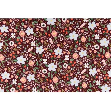 tissu coton rifle paper co - wild rose burgundy metallic