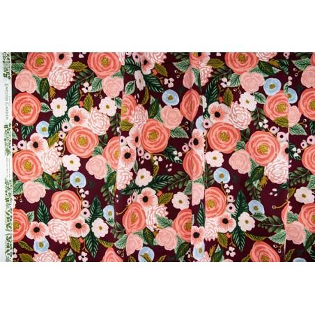 tissu fleurs lin et coton - rifle paper co