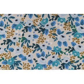tissu canvas rosa blue unbleached - rifle paper co