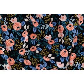 tissu canvas rosa blue unbleached - rifle paper co