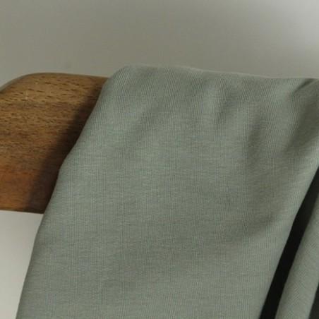 Tissu sweat fin bio - vert de gris