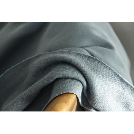 tissu sweat fin - bleu en coton bio