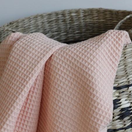 tissu éponge nid d'abeille - rose saumon