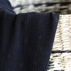 Double gaze brodée pâquerette - noir