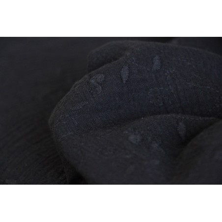 tissu double gaze fleurs brodées - noir