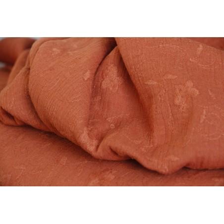 tissu double gaze brodé jasmin - brique