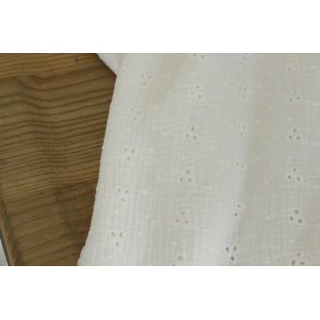 tissu double gaze brodée - blanc cassé