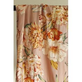 tissu viscose fleurs vieux rose