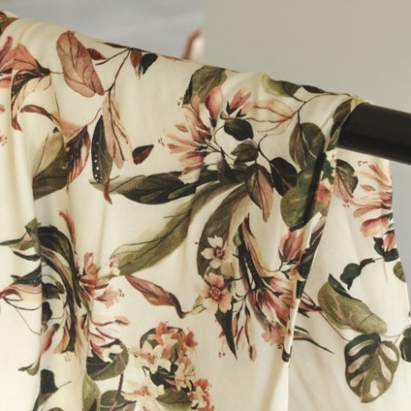 tissu viscose fleurs écru et rose