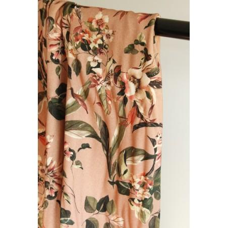 tissu viscose fleurs rose
