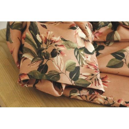 viscose imprimée fleurs vieux rose