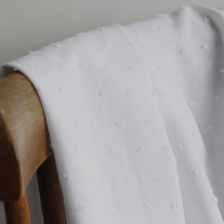 coton plumetis blanc