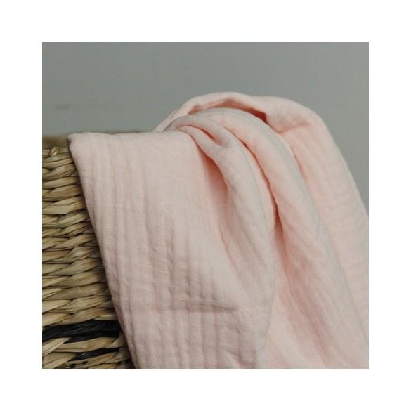 Double gaze en coton bio - rose clair