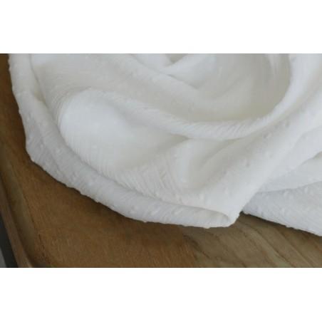 crépon de coton en plumetis blanc