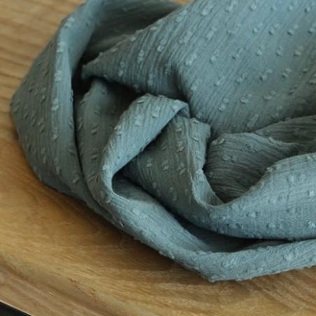 Coton crépon Plumetis vert