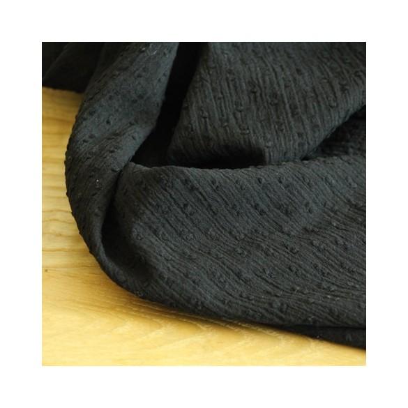 Coton crépon Plumetis noir