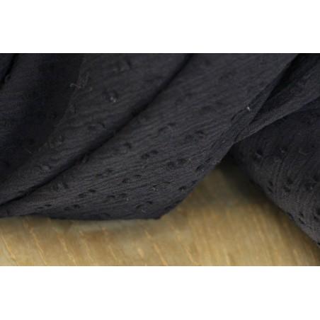 crépon de coton plumetis noir