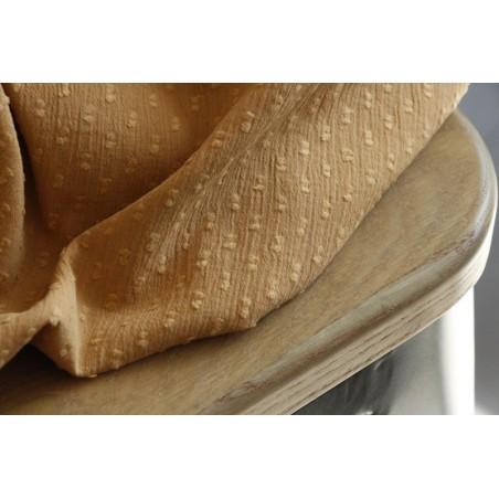 crépon de coton plumetis jaune clair