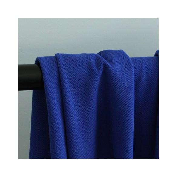 Tissu jersey polo - maille piquée bleu cobalt