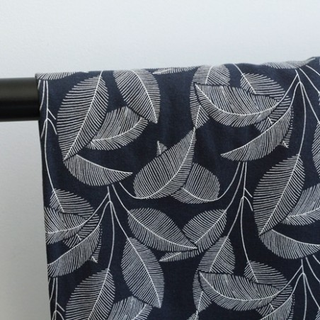 Tissu sweat molleton en coton bio - leaves navy