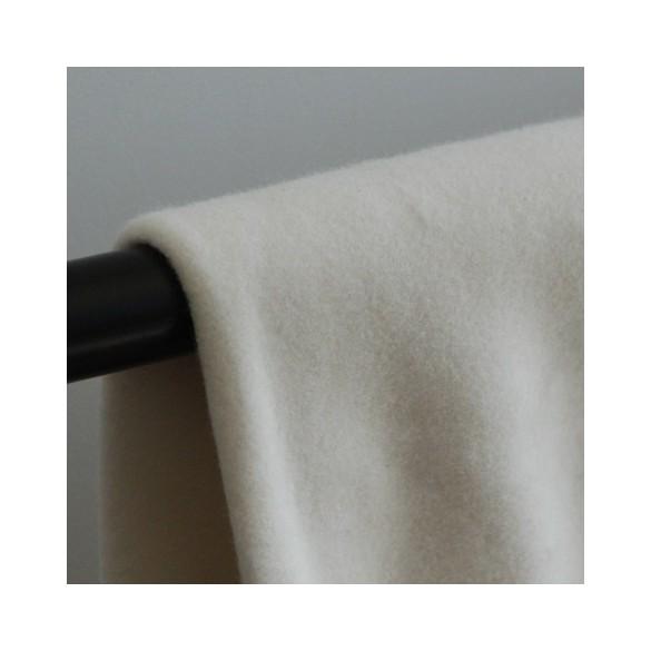 Tissu polaire en coton bio - Ecru
